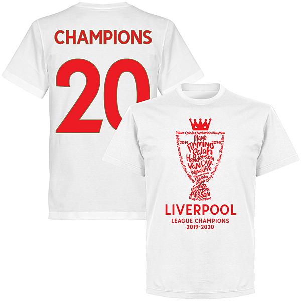 RE-TAKE リバプール 19-20 EPL Champions Tシャツ ホワイト