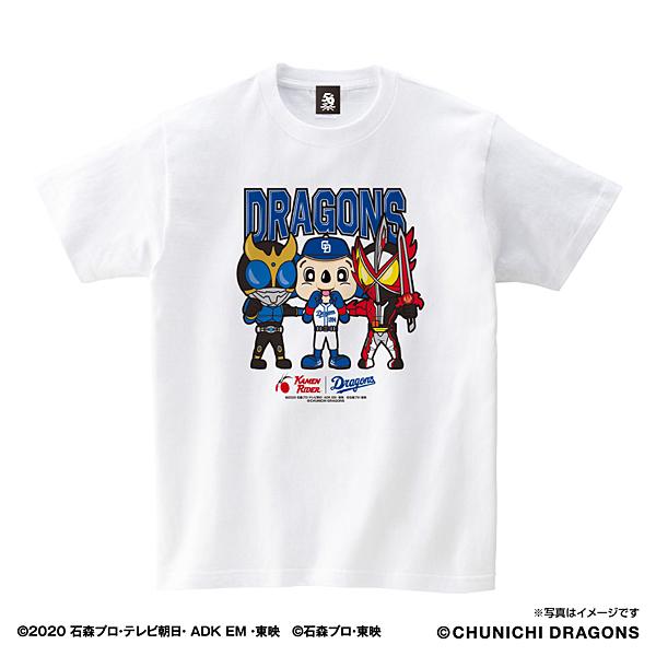 面ライダー/中日ドラゴンズ Tシャツ(集合) アダルト ホワイト