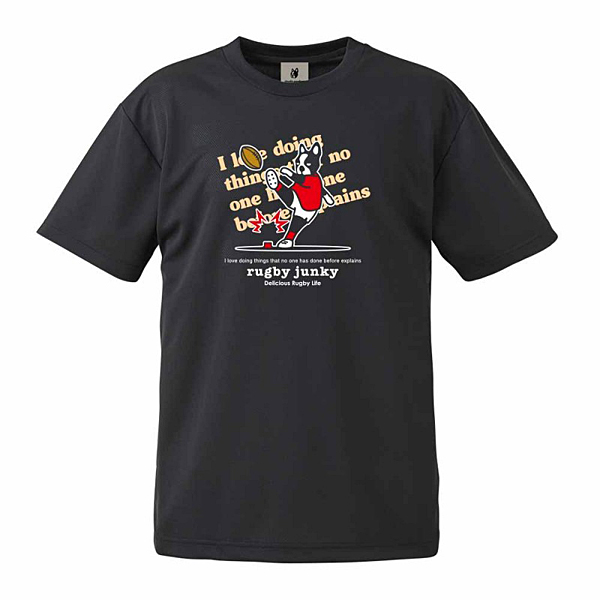 rugby junky Try語録+1 Tシャツ ブラック