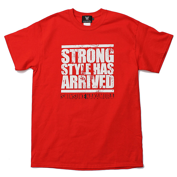 <日本限定> WWE 中邑真輔 【Strong Style Has Arrived】 Tシャツ1 レッド